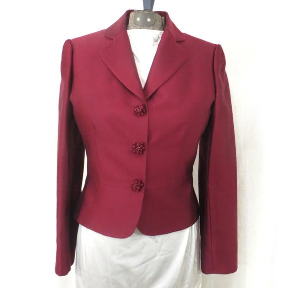 Tahari Jackets & Blazers - Tahari Wool and Silk Blend Cranberry Red Blazer